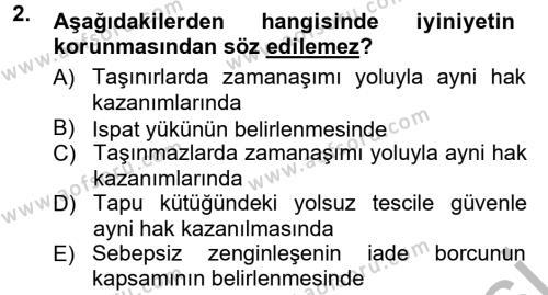 Medeni Hukuk 1 Dersi 2012 - 2013 Yılı (Vize) Ara Sınav Soruları 2. Soru