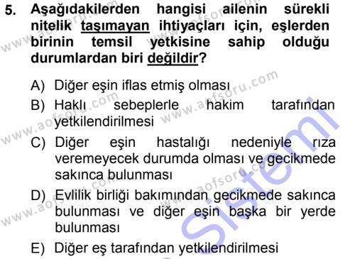 Adalet Bölümü 1. Yarıyıl Medeni Hukuk I Dersi 2013 Yılı Güz Dönemi Dönem Sonu Sınavı 5. Soru