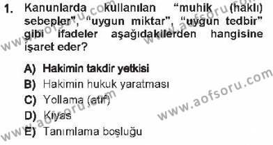 Adalet Bölümü 1. Yarıyıl Medeni Hukuk I Dersi 2013 Yılı Güz Dönemi Tek Ders Sınavı 1. Soru