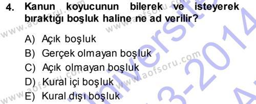 Medeni Hukuk 1 Dersi 2013 - 2014 Yılı (Vize) Ara Sınavı 4. Soru