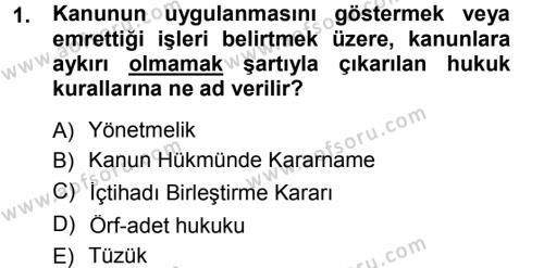 Adalet Bölümü 1. Yarıyıl Medeni Hukuk I Dersi 2014 Yılı Güz Dönemi Tek Ders Sınavı 1. Soru