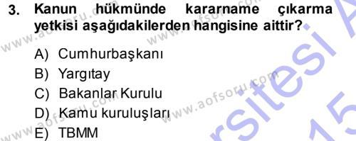 Medeni Hukuk 1 Dersi 2014 - 2015 Yılı (Vize) Ara Sınavı 3. Soru
