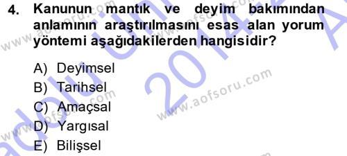 Medeni Hukuk 1 Dersi 2014 - 2015 Yılı (Vize) Ara Sınavı 4. Soru