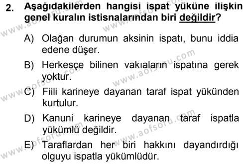 Medeni Hukuk 1 Dersi 2014 - 2015 Yılı (Final) Dönem Sonu Sınavı 2. Soru