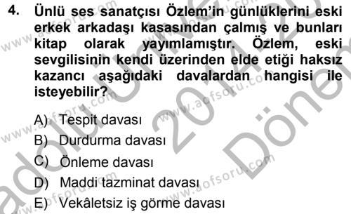 Medeni Hukuk 1 Dersi 2014 - 2015 Yılı (Final) Dönem Sonu Sınavı 4. Soru