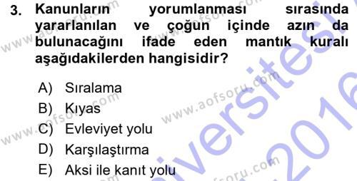 Medeni Hukuk 1 Dersi 2015 - 2016 Yılı Ara Sınavı 3. Soru