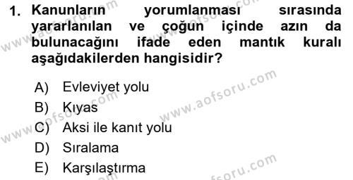 Medeni Hukuk 1 Dersi 2018 - 2019 Yılı (Vize) Ara Sınavı 1. Soru