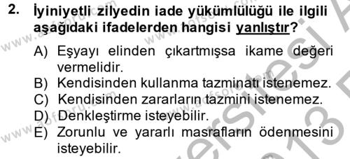Medeni Hukuk 2 Dersi 2012 - 2013 Yılı (Vize) Ara Sınav Soruları 2. Soru
