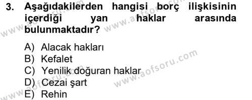 Medeni Hukuk 2 Dersi 2012 - 2013 Yılı (Vize) Ara Sınav Soruları 3. Soru