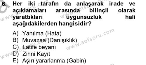 Medeni Hukuk 2 Dersi 2012 - 2013 Yılı Ara Sınavı 6. Soru 1. Soru