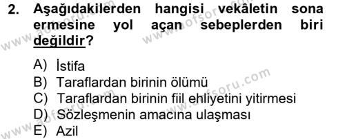 Medeni Hukuk 2 Dersi 2012 - 2013 Yılı (Final) Dönem Sonu Sınavı 2. Soru