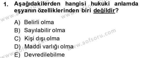 Adalet Bölümü 2. Yarıyıl Medeni Hukuk II Dersi 2014 Yılı Bahar Dönemi Ara Sınavı 1. Soru