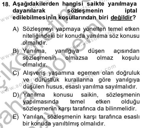 Medeni Hukuk 2 Dersi 2013 - 2014 Yılı Ara Sınavı 18. Soru 1. Soru