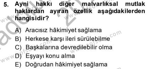 Adalet Bölümü 2. Yarıyıl Medeni Hukuk II Dersi 2014 Yılı Bahar Dönemi Ara Sınavı 5. Soru
