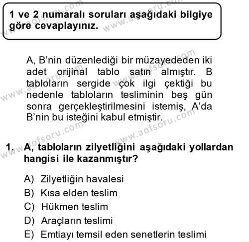 Medeni Hukuk 2 Dersi 2013 - 2014 Yılı (Final) Dönem Sonu Sınav Soruları 1. Soru
