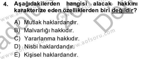 Medeni Hukuk 2 Dersi 2013 - 2014 Yılı (Final) Dönem Sonu Sınav Soruları 4. Soru