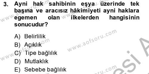 Medeni Hukuk 2 Dersi 2014 - 2015 Yılı Ara Sınavı 3. Soru
