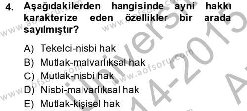 Medeni Hukuk 2 Dersi 2014 - 2015 Yılı Ara Sınavı 4. Soru