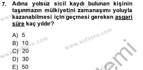 Medeni Hukuk 2 Dersi 2014 - 2015 Yılı Ara Sınavı 7. Soru 1. Soru