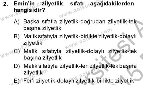 Medeni Hukuk 2 Dersi 2014 - 2015 Yılı (Final) Dönem Sonu Sınavı 2. Soru