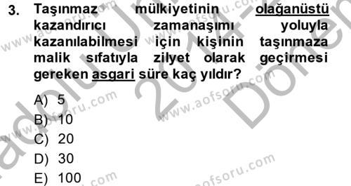 Medeni Hukuk 2 Dersi 2014 - 2015 Yılı (Final) Dönem Sonu Sınavı 3. Soru
