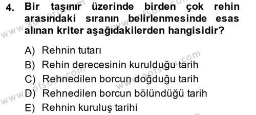 Medeni Hukuk 2 Dersi 2014 - 2015 Yılı (Final) Dönem Sonu Sınavı 4. Soru