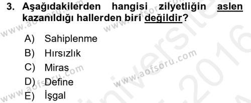 Medeni Hukuk 2 Dersi 2015 - 2016 Yılı (Vize) Ara Sınavı 3. Soru