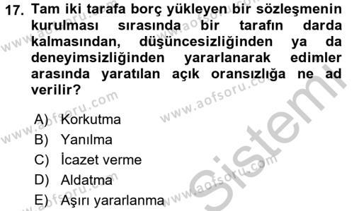 Medeni Hukuk 2 Dersi 2016 - 2017 Yılı Ara Sınavı 17. Soru 1. Soru