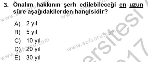 Medeni Hukuk 2 Dersi 2016 - 2017 Yılı (Vize) Ara Sınavı 3. Soru
