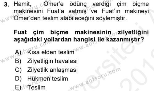 Medeni Hukuk 2 Dersi 2017 - 2018 Yılı (Vize) Ara Sınavı 3. Soru