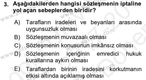 Medeni Hukuk 2 Dersi 2017 - 2018 Yılı (Final) Dönem Sonu Sınavı 3. Soru