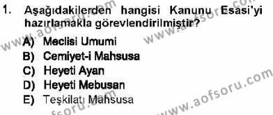 Türk Anayasa Hukuku Dersi 2012 - 2013 Yılı Ara Sınavı 1. Soru