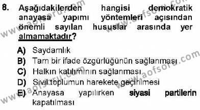 Türk Anayasa Hukuku Dersi Ara Sınavı Deneme Sınav Soruları 8. Soru