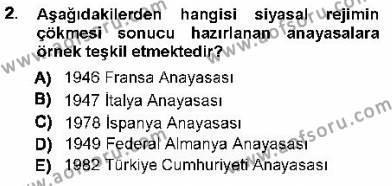 Maliye Bölümü 1. Yarıyıl Türk Anayasa Hukuku Dersi 2013 Yılı Güz Dönemi Dönem Sonu Sınavı 2. Soru