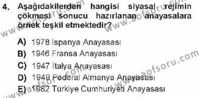 Adalet Bölümü 1. Yarıyıl Türk Anayasa Hukuku Dersi 2013 Yılı Güz Dönemi Tek Ders Sınavı 4. Soru