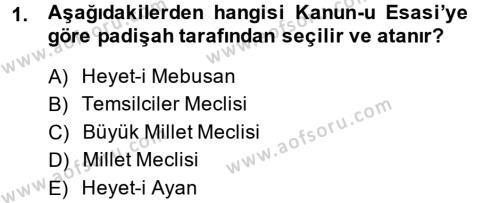 Adalet Bölümü 1. Yarıyıl Türk Anayasa Hukuku Dersi 2014 Yılı Güz Dönemi Ara Sınavı 1. Soru
