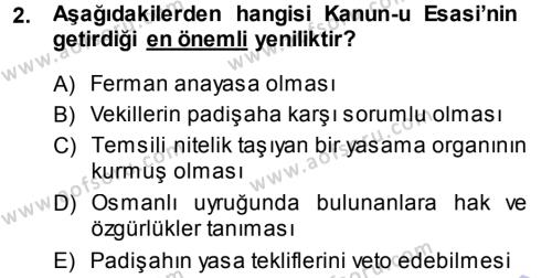 Yerel Yönetimler Bölümü 1. Yarıyıl Türk Anayasa Hukuku Dersi 2014 Yılı Güz Dönemi Ara Sınavı 2. Soru