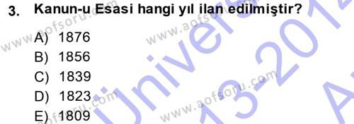 Türk Anayasa Hukuku Dersi 2013 - 2014 Yılı Ara Sınavı 3. Soru