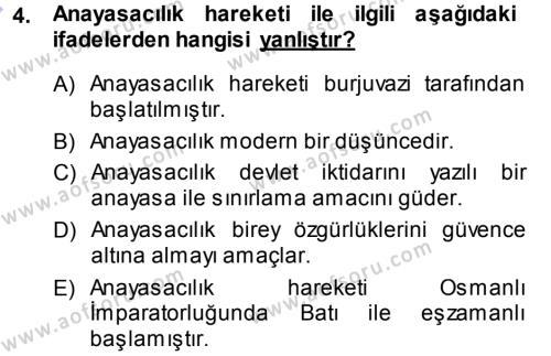 Adalet Bölümü 1. Yarıyıl Türk Anayasa Hukuku Dersi 2014 Yılı Güz Dönemi Ara Sınavı 4. Soru