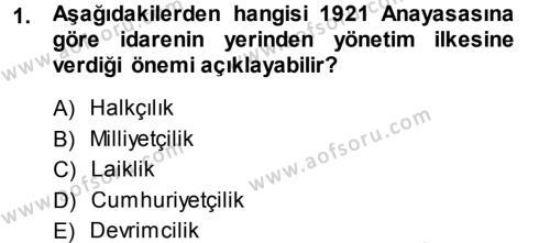 Sosyal Hizmet Bölümü 1. Yarıyıl Türk Anayasa Hukuku Dersi 2014 Yılı Güz Dönemi Dönem Sonu Sınavı 1. Soru