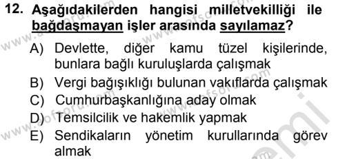 Türk Anayasa Hukuku Dersi Tek Ders Sınavı Deneme Sınav Soruları 12. Soru
