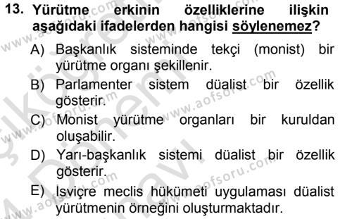 Türk Anayasa Hukuku Dersi 2013 - 2014 Yılı Tek Ders Sınavı 13. Soru 1. Soru
