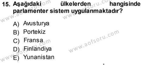 Türk Anayasa Hukuku Dersi 2013 - 2014 Yılı Tek Ders Sınavı 15. Soru