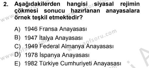 Yerel Yönetimler Bölümü 1. Yarıyıl Türk Anayasa Hukuku Dersi 2014 Yılı Güz Dönemi Tek Ders Sınavı 2. Soru