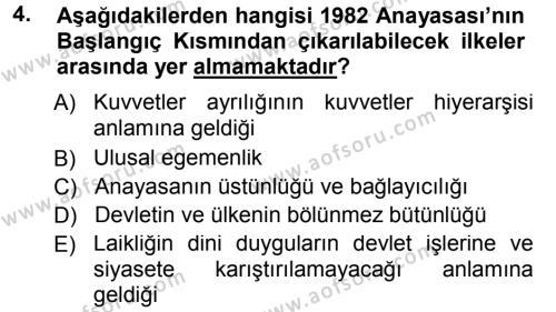 Türk Anayasa Hukuku Dersi 2013 - 2014 Yılı Tek Ders Sınavı 4. Soru