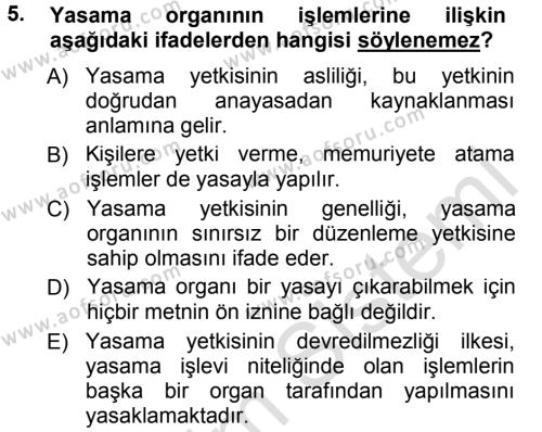 Yerel Yönetimler Bölümü 1. Yarıyıl Türk Anayasa Hukuku Dersi 2014 Yılı Güz Dönemi Tek Ders Sınavı 5. Soru