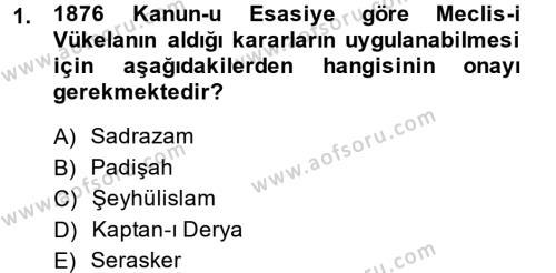 Türk Anayasa Hukuku Dersi 2014 - 2015 Yılı (Vize) Ara Sınavı 1. Soru