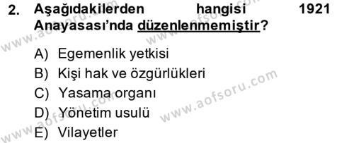 Yerel Yönetimler Bölümü 1. Yarıyıl Türk Anayasa Hukuku Dersi 2015 Yılı Güz Dönemi Ara Sınavı 2. Soru