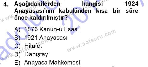 Türk Anayasa Hukuku Dersi 2014 - 2015 Yılı Ara Sınavı 4. Soru