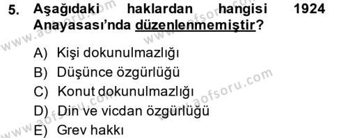 Yerel Yönetimler Bölümü 1. Yarıyıl Türk Anayasa Hukuku Dersi 2015 Yılı Güz Dönemi Ara Sınavı 5. Soru